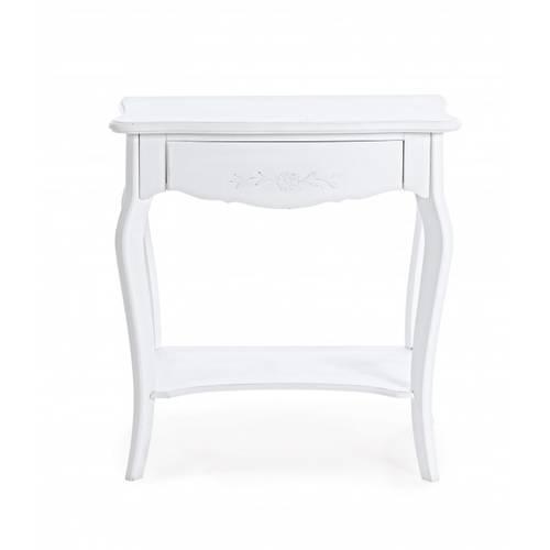 Consolle legno bianco rettangolare con cassetto + 1 piano