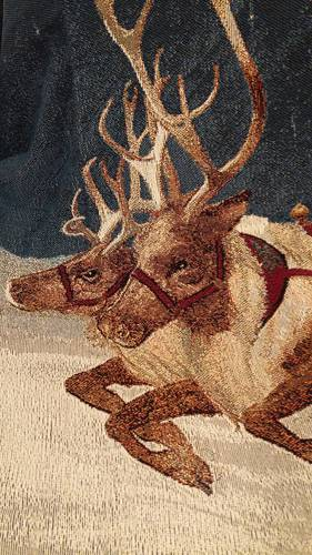 Plaid tessuto a telaio Slitta con Babbo Natale
