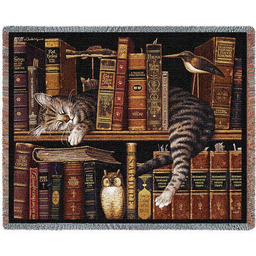 Plaid tessuto a telaio Gatto su libreria con gufo