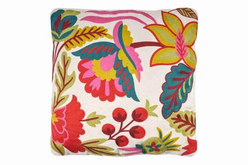 Cuscino bianco ricamo fiori colorati 50x50
