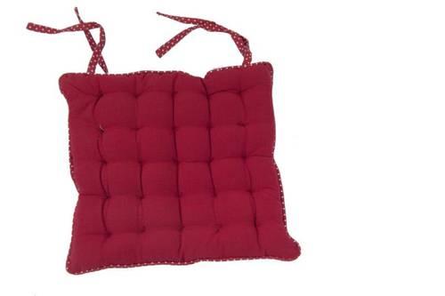 Cuscino per sedia rosso bordo pois 40x40