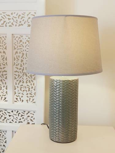 Lampada ceramica intreccio verde oro paralume ecru 51h
