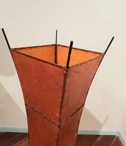 Lampada etnica pelle arancio svasata quadrata 118h