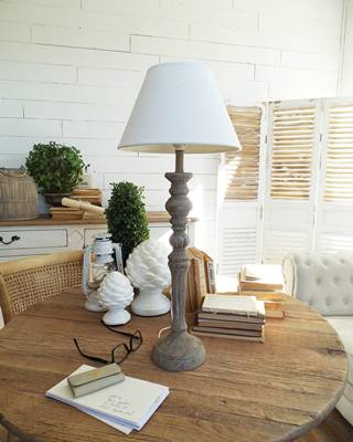 Lampada legno grigio stile impero h68