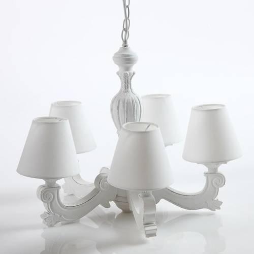 Lampadario legno bianco shabby 5 luci con paralumi