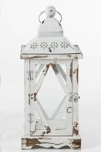 Lanterna legno bianco tetto decoro fiorellini h41
