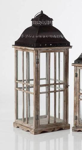 Lanterna legno naturale finestrata tetto metallo nero 87h
