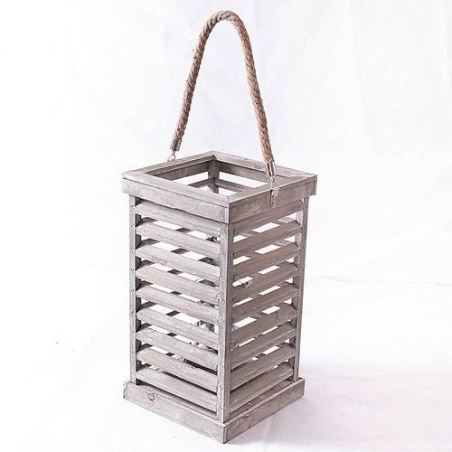 Lanterna quadrata legno grigio a griglia