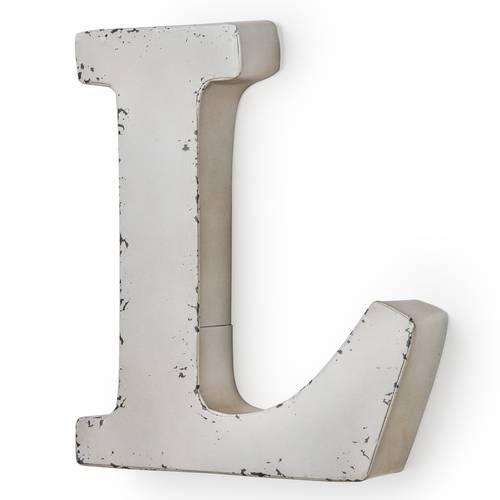 Lettera metallo L bianca
