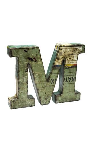Lettera metallo M vintage colorata