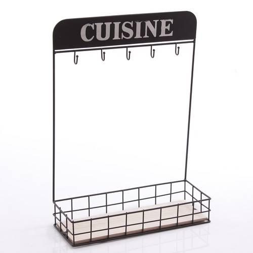Mensola ferro nero Cuisine con ganci