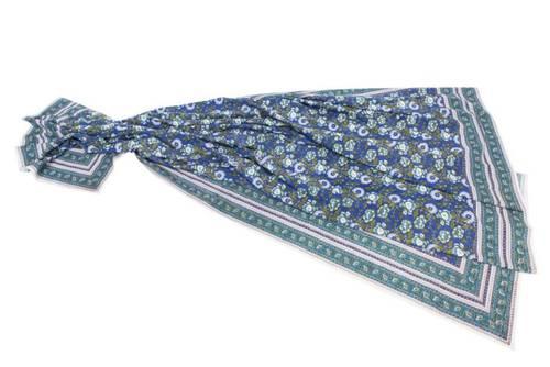Mezzero telo arredo fiori blu 180x270