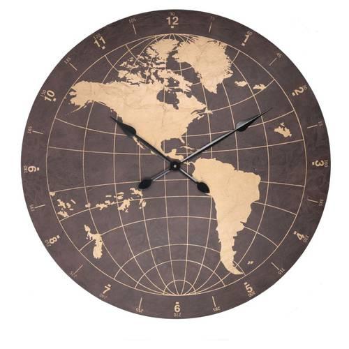 Orologio mappamondo ecopelle nera e oro cm60