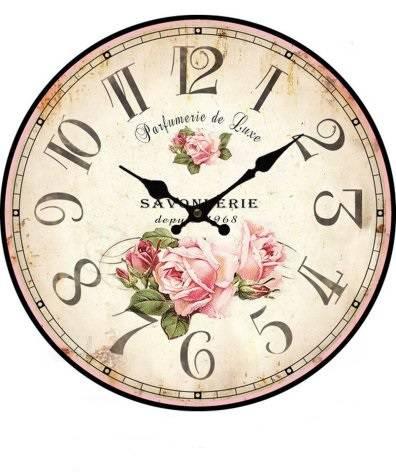 Orologio legno parete stampa rose parfumerie cm 34