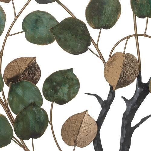 Pannello decorativo da parete metallo albero foglie verdi e oro 88h