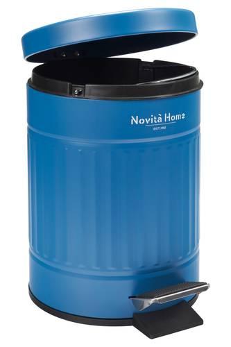 Pattumiera metallo tonda Blu Vintage a pedale 5 litri