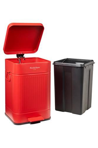 Pattumiera quadrata Rosso metallo Vintage con pedale 20 litri