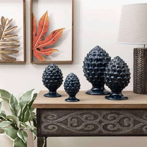 Pigna decorativa porcellana blu navy