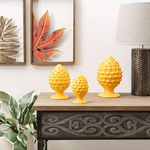 Pigna decorativa porcellana gialla