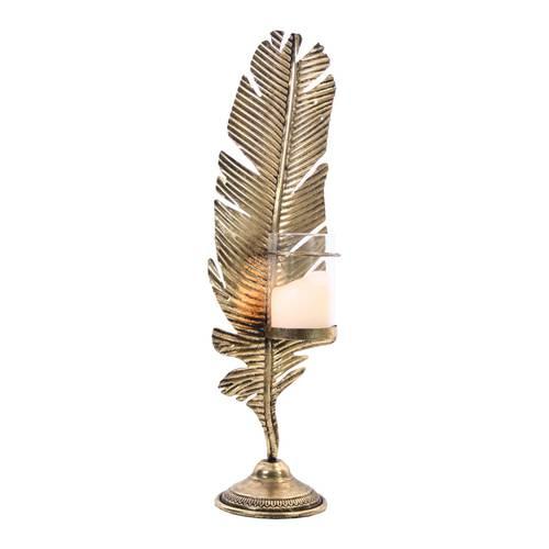 Portacandela glamour foglia oro metallo 72h