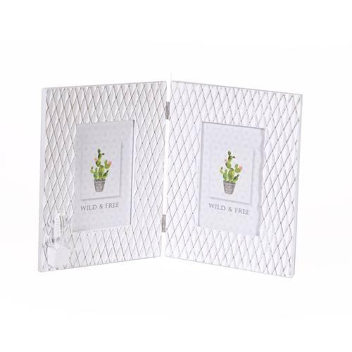 Portafoto cactus doppio a libro bianco legno