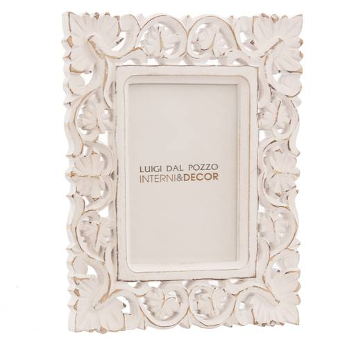 Portafoto legno mango bianco intagliato foglie 30x40 da parete