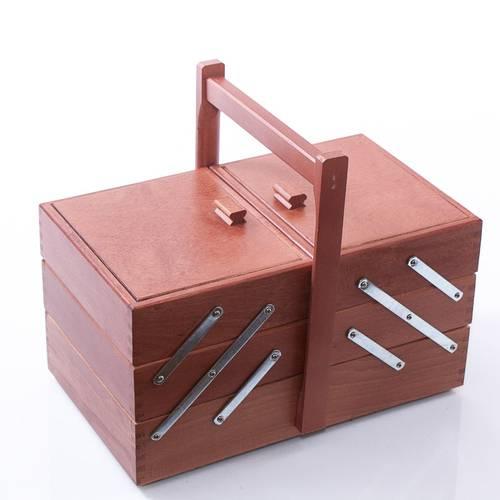 Porta lavoro per cucito legno noce 3 piani medio