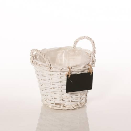 Portavaso cesto vimini bianco cm22