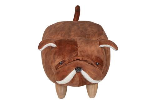 Pouf cane bulldog ecopelle colore cuoio