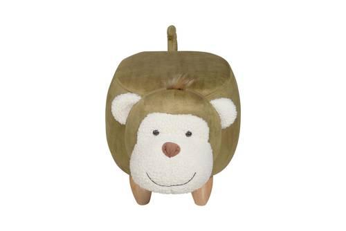 Pouf scimmia ecopelle verde e piedini legno