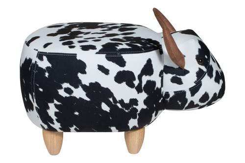 Pouf toro maculato bianco e nero tessuto e legno