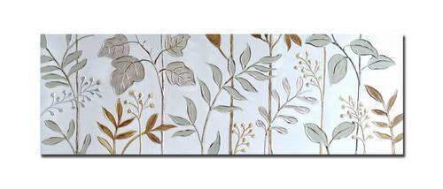 Quadro a olio foglie argento 150x50