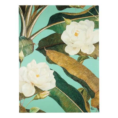 Quadro dipinto olio fiori bianchi e foglie oro-verdi 75x100