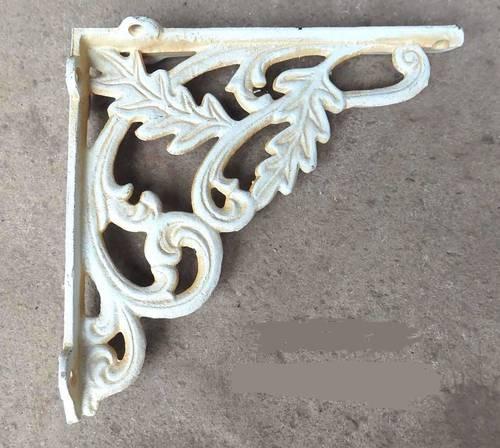 Reggimensola in ferro bianco decoro foglie cm20
