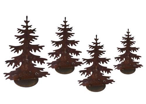 Sagoma albero abete ferro ruggine con base