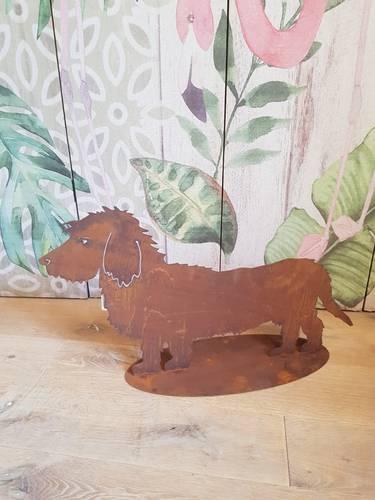 Sagoma cane bassotto peloso ferro ruggine da giardino