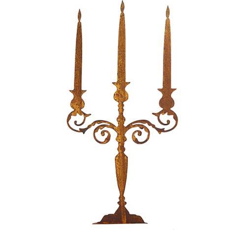 Sagoma candelabro tre fiamme ferro ruggine 60h