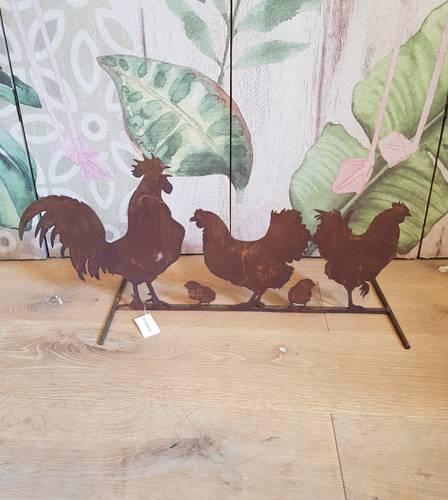 Sagoma gruppo pollaio galline ferro ruggine 60x30h