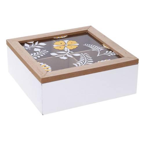 Scatola legno fiore giallo porta bustine the 4 posti