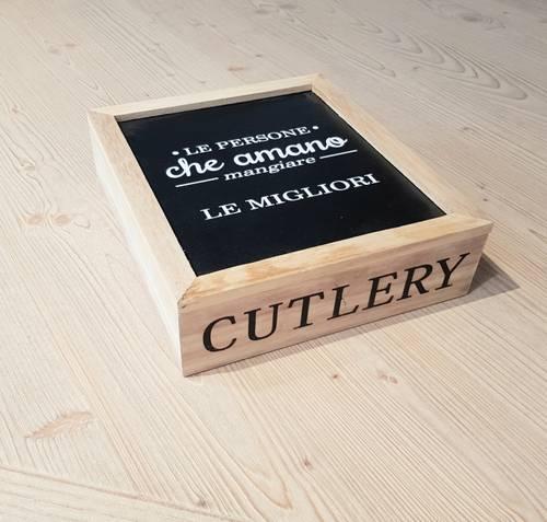 Scatola porta posate legno naturale-nero Cutlery