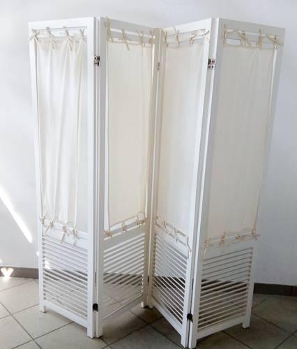Separè legno bianco a griglia con tela 4 ante
