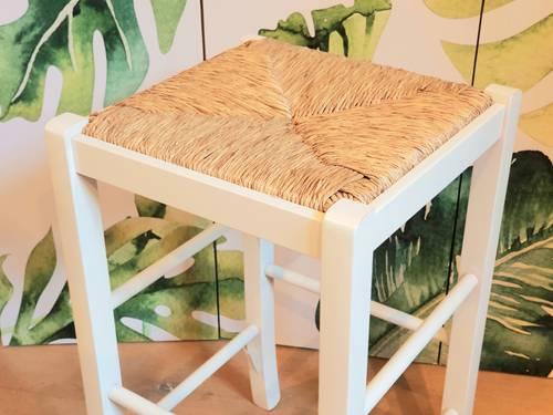 Sgabello legno bianco seduta impagliata 73h