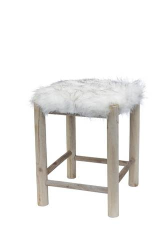 Sgabello legno naturale seduta pelliccia 48h