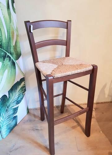 Sgabello legno noce con schienale seduta impagliata 72h