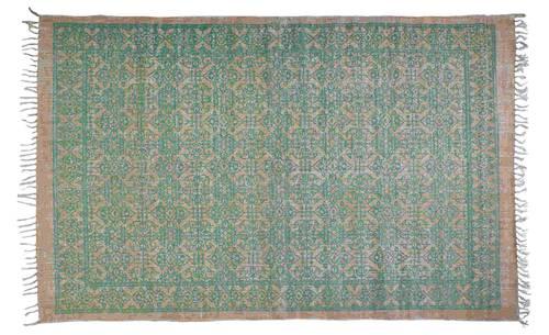 Tappeto cotone beige stmpa decoro verde 140x200