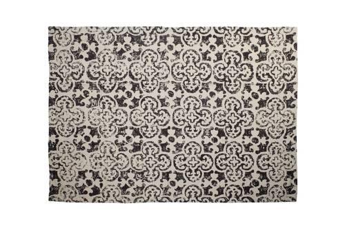 Tappeto cotone fiori marrone decoro vintage 120x180