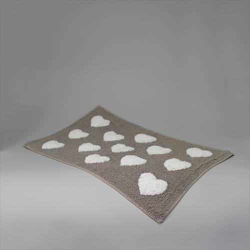 Tappeto cotone beige cuori bianchi shabby 60x180
