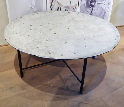 Tavolino tondo metallo lavorato
