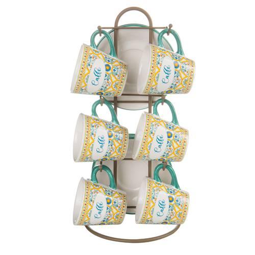 Tazzine caffè Ortigia ceramica 6pz con supporto