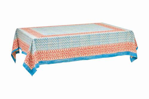 Tovaglia cotone azzurro bordo rosso 140x180